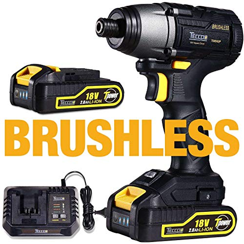 Visseuse à Chocs Brushless, TECCPO Professional 220Nm Clé à Chocs Sans Balais 18V, 2 Batteries...