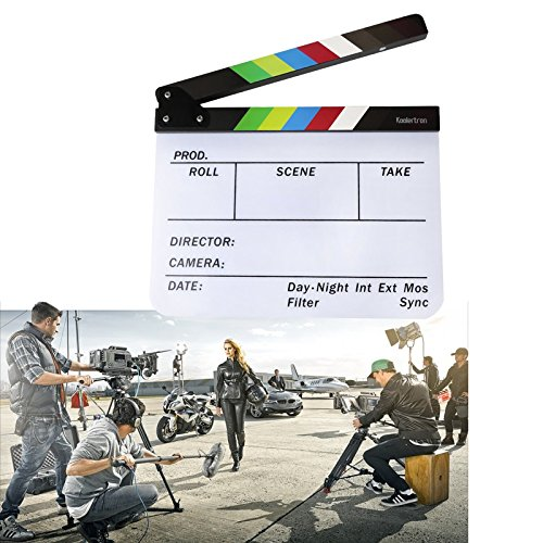HJ® 30x24cm Acryl Regieklappe Bunt Director's Film TV Cut Action Szene Dry Erase Slateboard Klöppel Clapperboard Filmklappe (In Kostüme Besten Die Hollywood)