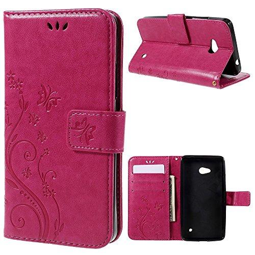 jbTec® Handy-Hülle Case #S16 Schmetterlinge - Handy-Tasche Schutz-Hülle Flip Cover Klapphülle Flipcase Etui Book Schale, Farbe:Pink, passend für:Microsoft Lumia 640