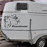 Pferdekopf mit Wunschname Aufkleber Anhänger Pferd Anhänger ca. 80x60cm