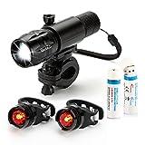 [Rilascio-Rapido] OxyLED® BL30 Set Luce da Bici a LED Ricaricabile Luminosa, 1 Lampada Anteriore Bicicletta di Lega Alluminio Resistente, 2 Lampada Posteriore, 2 Batterie al Litio 18650 Ricaricabile USB, 1 Supporto di Montaggio