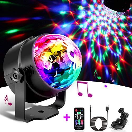 Preisvergleich Produktbild Discokugel LED Party Lampe Musikgesteuert Disco Lichteffekte Discolicht mit 4M USB Kabel,  7 Farbe RGB 360° Drehbares Partylicht mit Fernbedienung für Kinder,  Kinderzimmer,  Partei,  Geburtstagsfeier,  DJ,  Bar,  Karaoke,  Weihnachten,  Hochzeit,  Club,  Pub