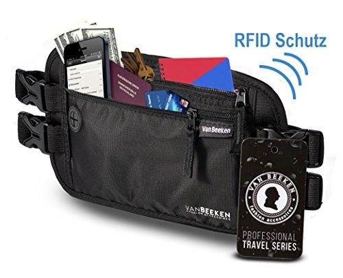 9634971b6323f Flache Bauchtasche Hüfttasche mit RFID-Blockierung und 2 Hüftgurten für  Damen und Herren - enganliegend ...