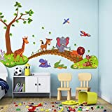 Kawaii Big Jungle Tiere Brücke PVC Wandaufkleber Kinder Schlafzimmer Tapete