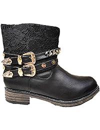Botín de mujer, diseño de tachuelas y fourrée diseño de zapatillas con clavos SM191 bota 14,28 cm, color negro