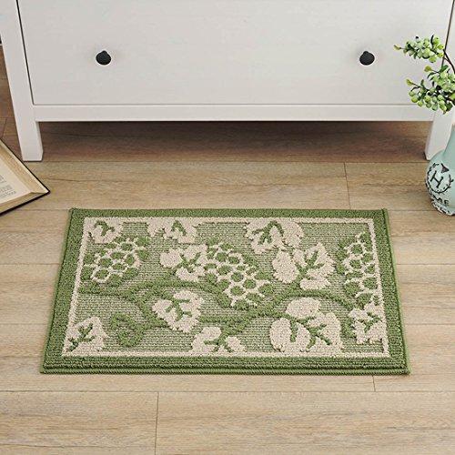 tifee Blume Verschleißfest Fussmatte Wasser aufnehmen rutschfester Staubdicht Fußmatte Innen und Außenbereich Eingang Teppich Küche Badezimmer, grün, - Küche-teppich-blumen