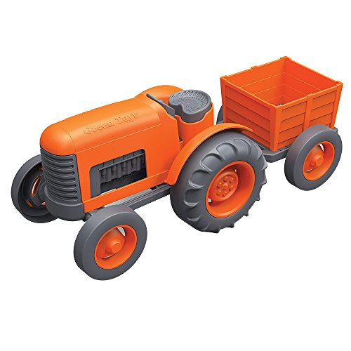 Green Toys Orange Tractor Toy with Detachable Trailer