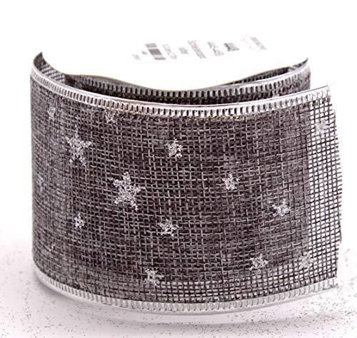 DARO DEKO Schleifenband in grau mit Sternen 6,3 cm x 2,7 m - 1 Stück