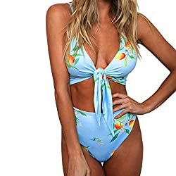 Women Swimwear, Amlaiworld Sexy Women Swimwear Print Bathing Suit Tankini Swimsuit Bra Bikini Set Padded (M, Sky Blue)