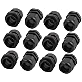 Uxcell 12Pcs PG19 Nylon Waterproof Cable Gland Fixing Connector Joints Fastener Black
