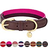 Blueberry Pet Polyester Fabric Webbing and Soft Genuine Leather Dog Collar in Hot Pink and Purple, Small, Neck 30.5cm-38cm, Adjustable Collars for Dogs