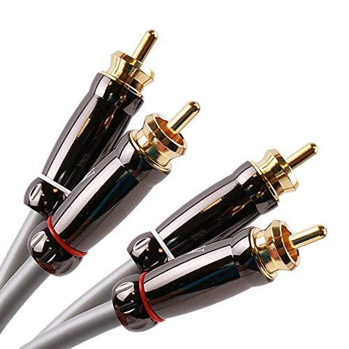 SKW Audiophiles Cinch Audio Kabel, 2 x Cinch zu 2 x Cinch Kabel mit OD 6mm Audiophile Cinch-Kabel (1M, Grau)