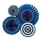 WopenJucy 4 abanicos de fiesta una variedad de abanicos de papel plegables para decoración de fiesta/boda, color azul marino