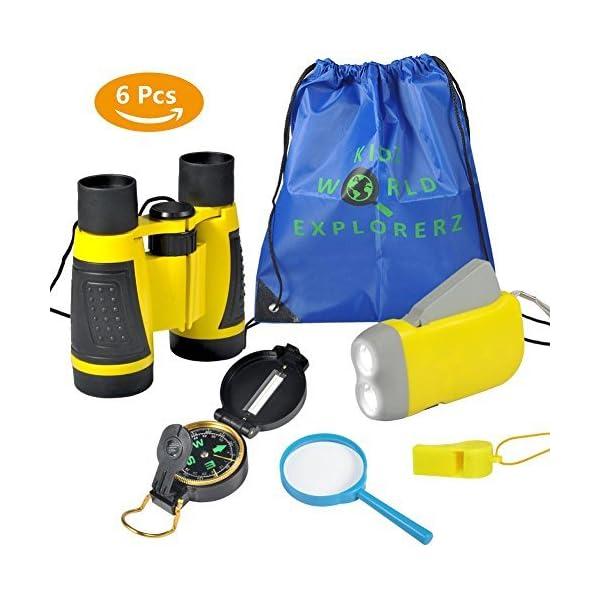 VGEBY-6pcs-Kit-Adventure-Binocolo-Torcia-a-Manovella-Bussola-Lente-dIngrandimento-Fischietto-e-Zaino-con-Coulisse-Kit-di-Esplorazione-per-Bambini-per-Campeggio-e-Escursionismo