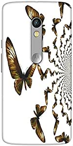Snoogg Kaleidoscopic Butterflies Hard Back Case Cover Shield for Motorola X Play