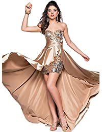 Azbro Mujer Vestido de Noche Alta- Baja Sin Tirantes para Damas de Honor
