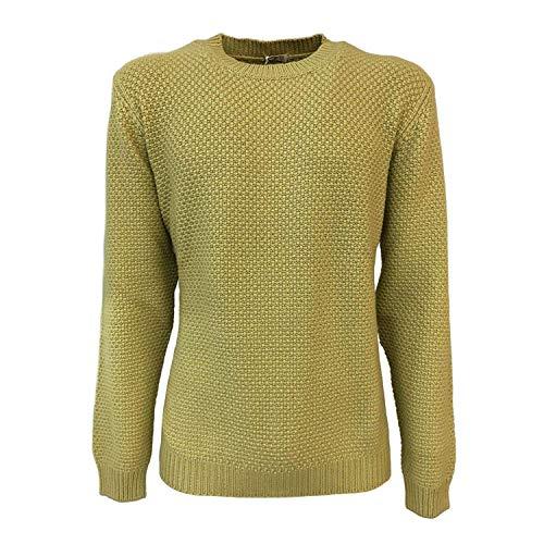 Preisvergleich Produktbild Malo Pullover Herren Rundhalsausschnitt Gelb 100% Kaschmir Made in Italy (It 54 - XXL)