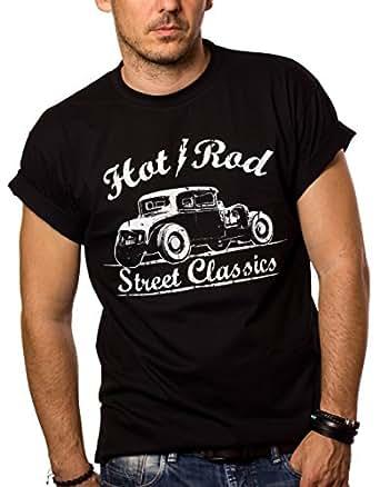 MAGLIETTA HOT ROD - T-shirt Rockabilly Uomo Oldtimer Ford A nera S