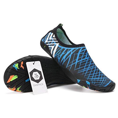 Sixspace Badeschuhe Strandschuhe Wasserschuhe Aquaschuhe Schwimmschuhe Barfuß Schuhe für Damen Herren Blau