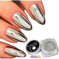 Galaxy Beauty - Pigmento en polvo para uñas, color plata, brillante, con esponja, 1 g