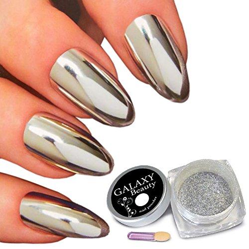 Galaxy Beauty Chrom-Puder für die Maniküre, für einen Spiegeleffekt, silberfarbene Pigmente, mit Schwämmchenstift und Anleitung (nicht in deutscher Sprache), 1 Gramm