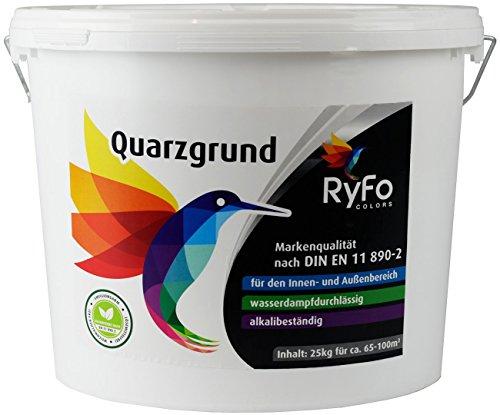 RyFo Colors Quarzgrund 25kg - Profi Putzgrund weiß als Putzgrundierung für einen extrem griffigen Untergrund, innen und außen, gebrauchsfertig, zertifiziert