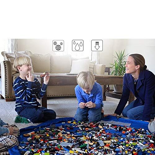 Toocoo Bolsa para Guardar Juguetes Ideal para Lego, Duplo y Juguetes para niños Bolsa Rápidamente Limpieza Organizador Del Almacenaje, Multiusos Portátil al Aire Libre Manta Actividades Alfombra 150 cm 60 pulgadas(Azul)