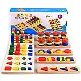 Lyguy Holzklötze, 7 Teile/Satz Pädagogisches Spielzeug Montessori Geschenk für Kinder Kinder