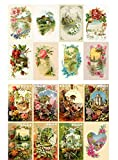 Papier fur Scrapbooking und Decoupage (10 blatt 20x30cm) Fr?hlingslandschaften Garten Wildblumen FLONZ Vintage