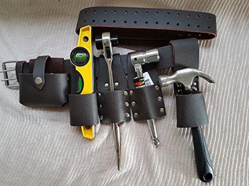 Cinturón de herramientas de cuero marrón con soporte sillín para martillos de acero, 6 unidades