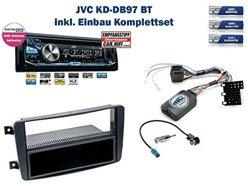 Mercedes C-Klasse (W203) Autoradio Einbauset *Schwarz* inkl. JVC KD-DB97BT (DAB+) und Lenkrad Fernbedienung Adapter