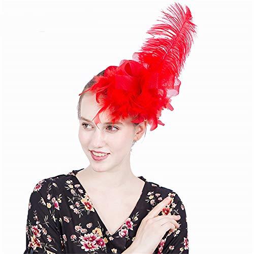 NQN Fascinator Hut für Frauen Lady Feather Kopfschmuck, Tea Party Kentucky Derby Hochzeit Kirche Hüte Pillboxhat Bridal Cocktail Headwear,red (Shower Kentucky Bridal Derby)