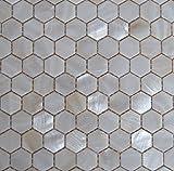 Perlmutt Mosaik Fliesen Fluss Bett natur Pearl Shell Mosaik Sechseck weiß