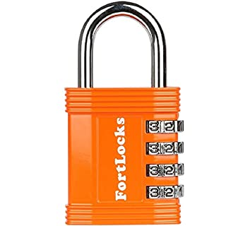 FortLocks Combination Lock - 4 Digit Padlock for School & Gym Locker, Outdoor, Fence, Hasp, Storage, Case, Toolbox & Shed – Resettable All Weather Anti Rust Metal & Steel – 1 Pack Orange