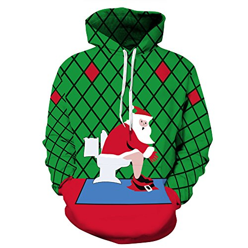 ZYX Hooded Sweater for Christmas, Christmas Costume, 3D Christmas Print Sweater for Christmas Party, Birthday Party and Various Holiday Parties, for Men and Women S-XXXL,S/M
