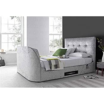 Walkworth 6ft Super King Size TV Bed Frame in Oatmeal Fabric By ...