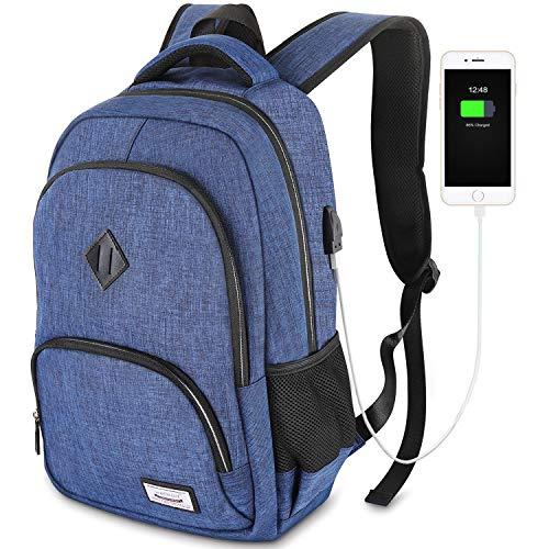 Laptop Rucksack Herren für 15.6 Zoll Schulrucksack Damen Laptop Rucksack mit Laptopfach,Wasserdicht,USB-Ladeanschluss,20-35L - Blau