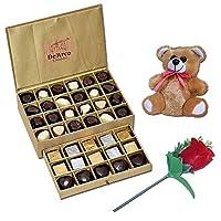 De'Arco Chocolatier Chocolates Valentine Day Gift for Girlfriend Boyfriend Husband Wife, Premium Luxury Chocolates, 44pcs + Free Rose & Teddy