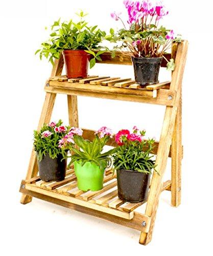 Stands extérieure Herb Plante Fleur Plateau de 2 couches en paroi de pot Plateau de protection en carbutier Anticorrosion 50 * 29 * 55cm Utilisation intérieure et extérieure Style vintage