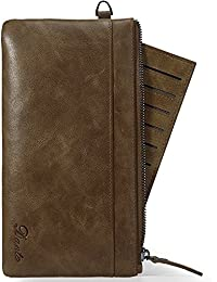 Dante Mens Top Grain Soft Long Leather Wrist Wallet Bag Coin Purse With Removable Card Holder For Id Credit Cards...