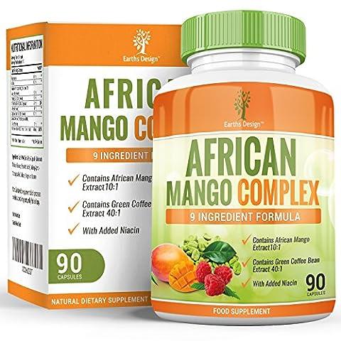 Complexe de Mangue Africaine - 1000mg avec Cétones de Framboise, Piment, Café Vert, Glucomannane - Complément à Dosage Maximum pour Hommes et Femmes - Convient aux Végétariens - 90 Capsules (3 Mois de Stock) de Earths Design