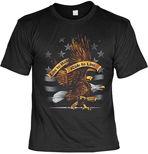 Ride Eagle (Motorrad Adler Eagle Tshirt Live to ride - Ride to live Fb schwarz Größe L)
