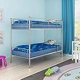 WEILANDEAL Bettrahmen für Jungen 200 x 90 cm Metall Grau Betten Abstand Zwischen Dem Oberen und Unteren Bett 84 cm