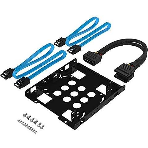 Sabrent Festplatten-Zubehör Rahmen 3,5-Zoll-SSD zu x2 / 2,5-Zoll-Festplattenlaufwerk Interner Montagesatz [SATA und Stromkabel im Lieferumfang enthalten] (BK-HDCC)
