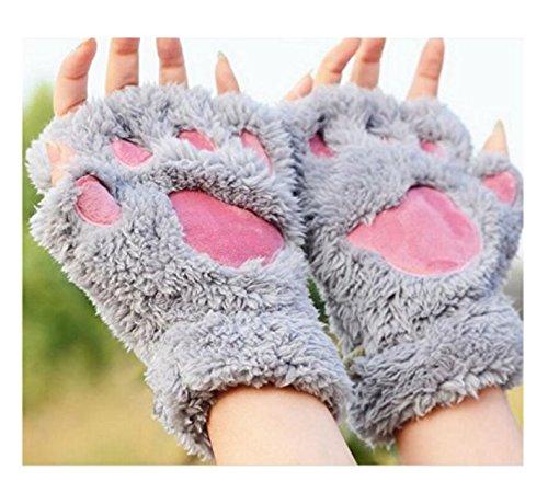 Bei wang Neuer Frauen Cute Cat Kitten Paw Fingerlose Handschuhe mit Kunstpelzkurz (grau)