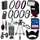 58mm 13 Piece Accessory Kit For Canon EOS 70D, 80D, 7D Mark II DSLRs With Replaceable LP-E6 Battery, Automatic LED Flash, 16GB SD Memory, HD Filters, Tripod, Travel Charger More