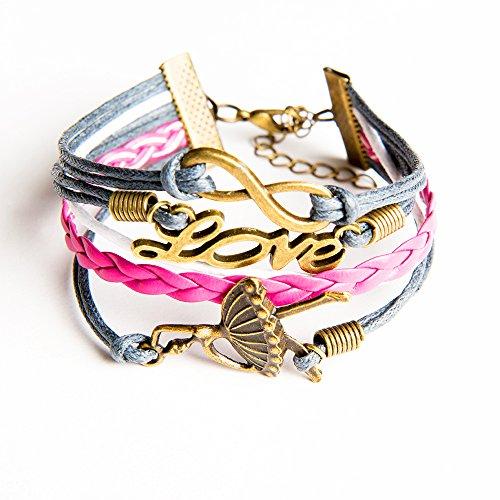 Preisvergleich Produktbild Kiss Me! Topmodel Party GNTM Armband Damen Mädchen Lillyfee Make Up Malbuch Anhänger Love Tänzerin Unendliche Freundschaft Heidi Klum Länge 16cm. Disco Ibiza Strand Style