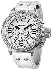 TW Steel Unisex Quartz Watch with White Dial Chronograph Display and White Leather Strap TW10