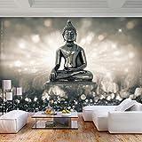 decomonkey   Fototapete Buddha 350x256 cm XL   Tapete   Wandbild   Wandbild   Bild   Fototapete   Tapeten   Wandtapete   Wanddeko   Wandtapete   Zen Abstrakt Orient grau