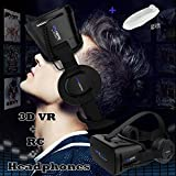 "VR Goggles Virtual Reality Headset with Remote & Headphones for iPhone X 8 6 Plus SE, Samsung Galaxy S8 S7 S6 Edge Note5, 3D VR Glasses for 3D Movie & Game for 4.0-6.0"" IOS & Android Smartphone, Black"